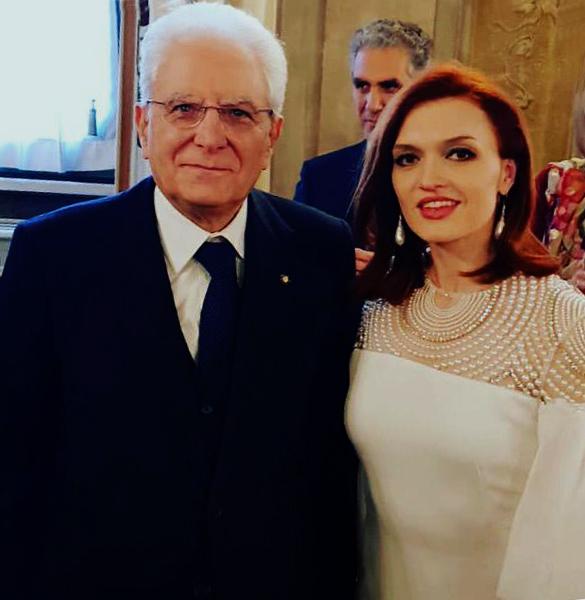 Ekaterina Bakanova con il Presidente della Repubblica Italiana Sergio Mattarella